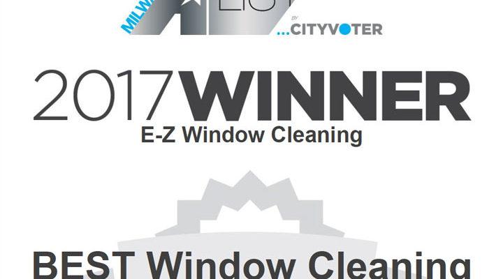 E-Z Window Cleaning Milwaukee A-List Winner 2017 Certificate