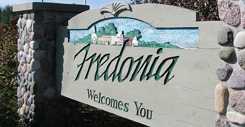 Sign saying 'Fredonia Welcomes You'