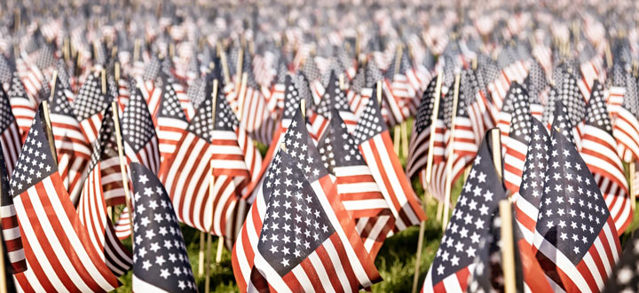 Memorial Day 2018 - flags in field to honor our fallen patriots