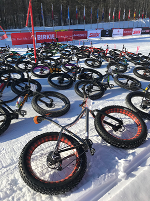 fat bikes lined up for a group ride