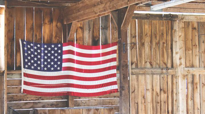 Labor Day USA Flag in Barn
