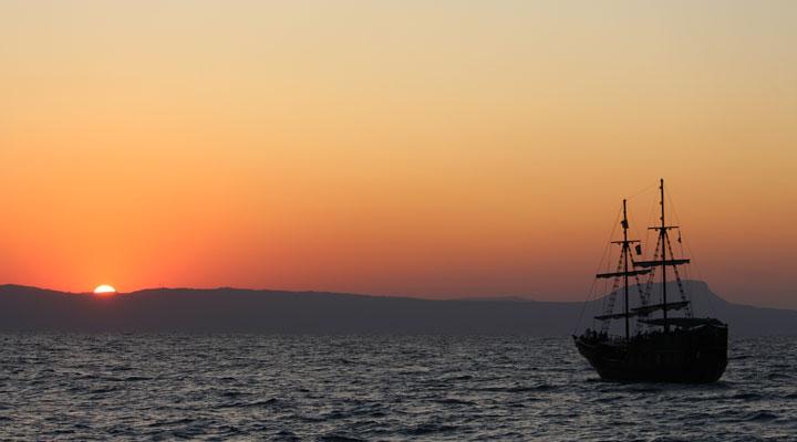 Columbus Day Sailboat at sunset